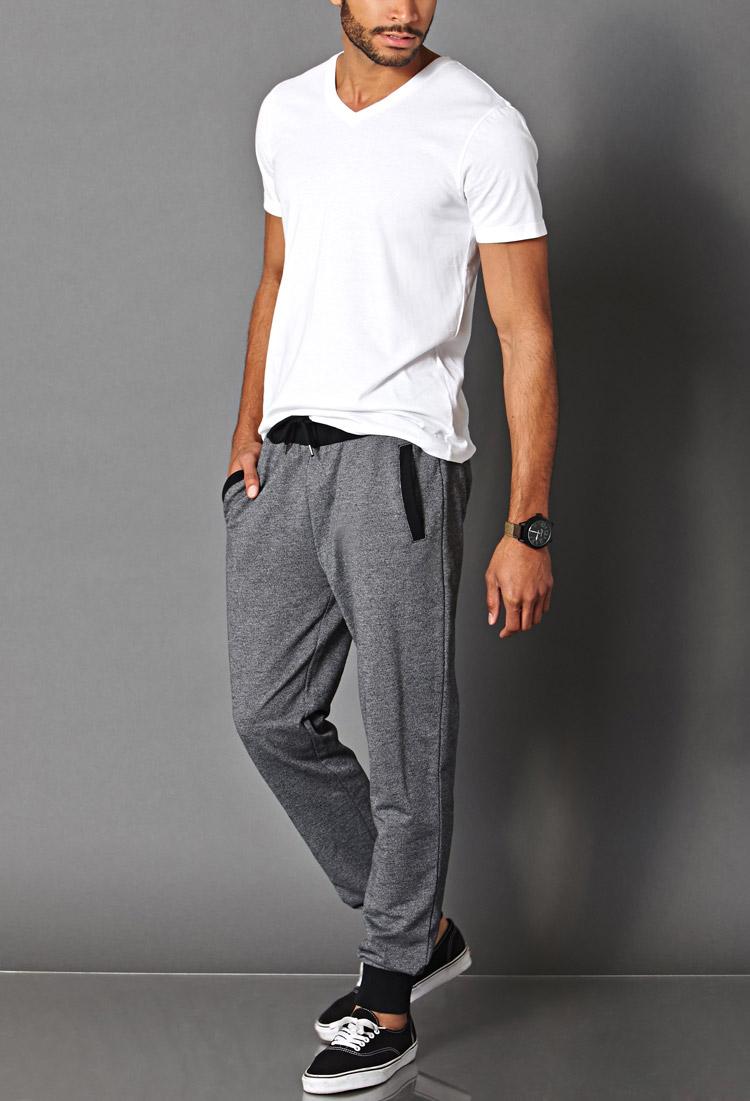 Forever 21 Cotton Blend Drawstring Joggers In Gray For Men