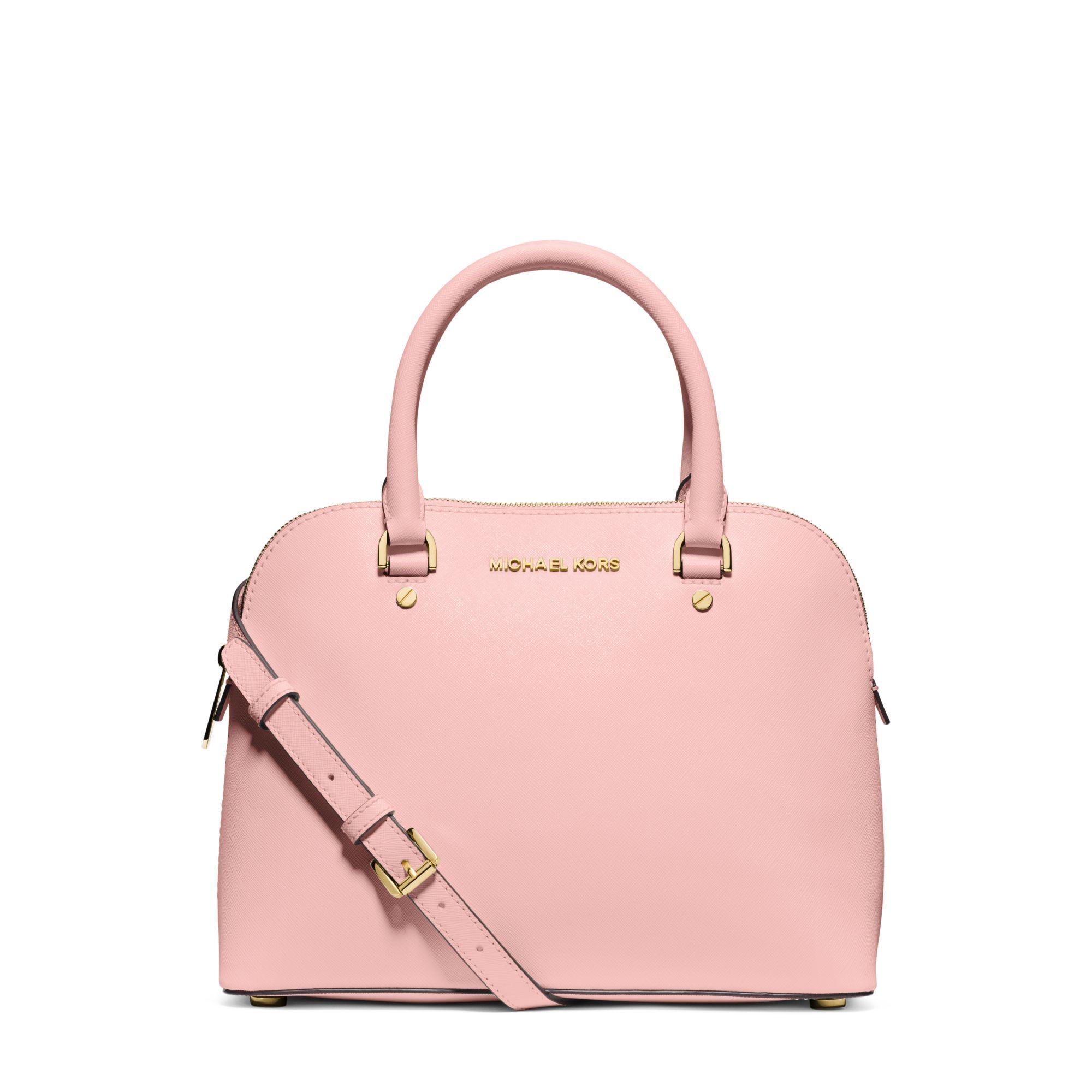 1e41924ce06e Michael Kors Cindy Medium Saffiano Leather Satchel in Pink - Lyst