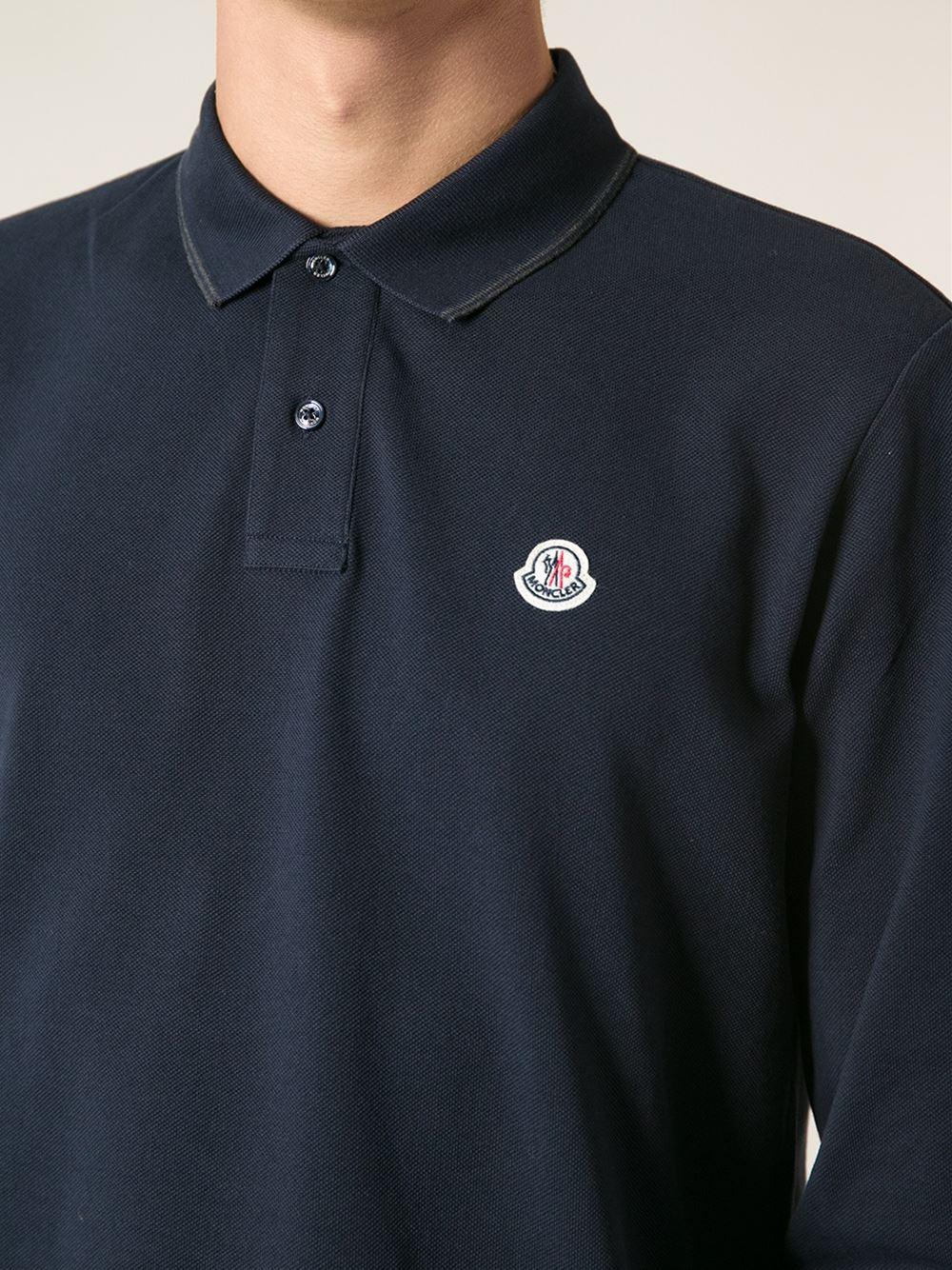 e56a5c584b65 Moncler Long Sleeved Polo Shirt in Blue for Men - Lyst
