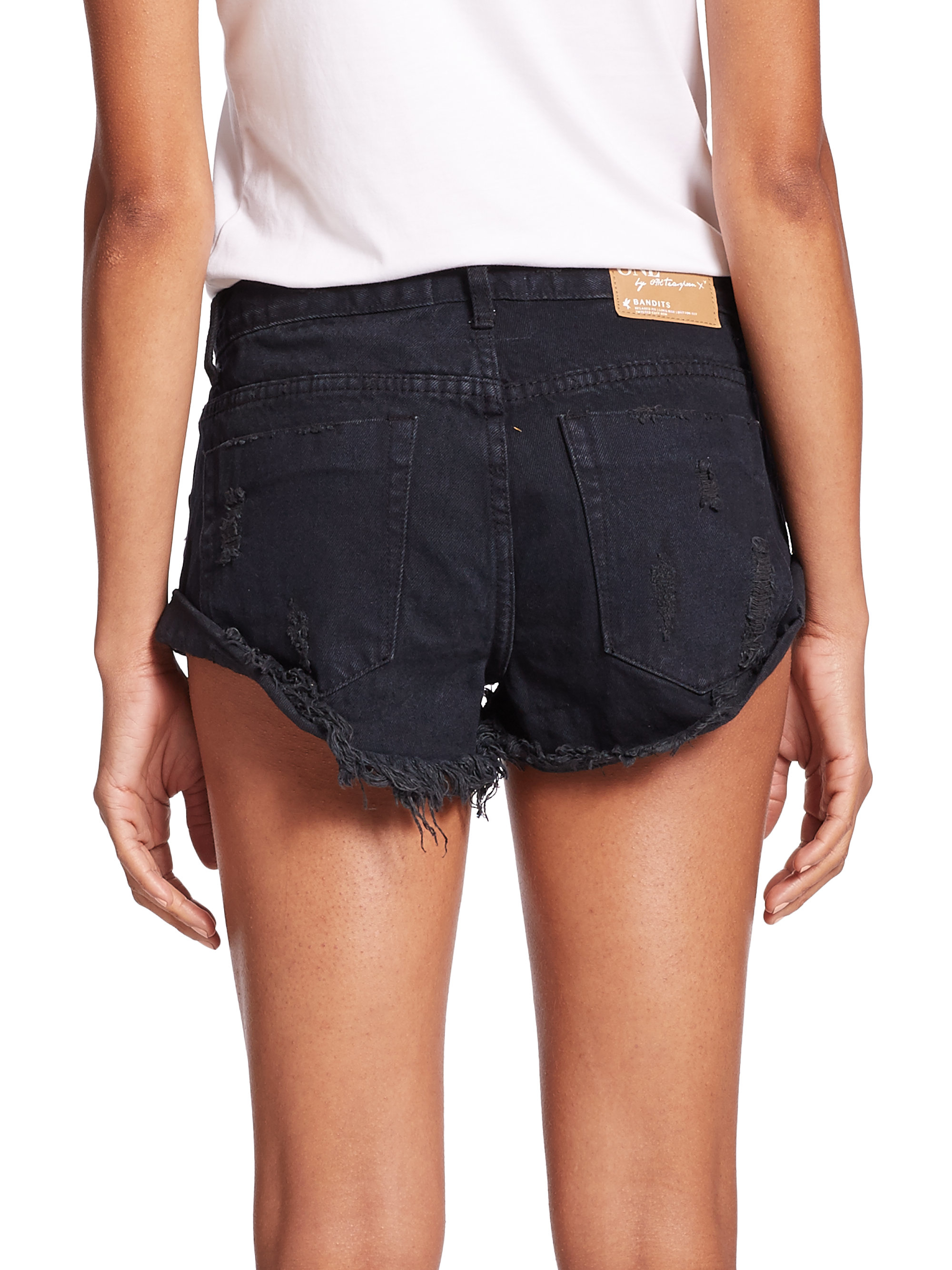 One teaspoon Bandits Distressed Roll-up Denim Shorts in Black | Lyst