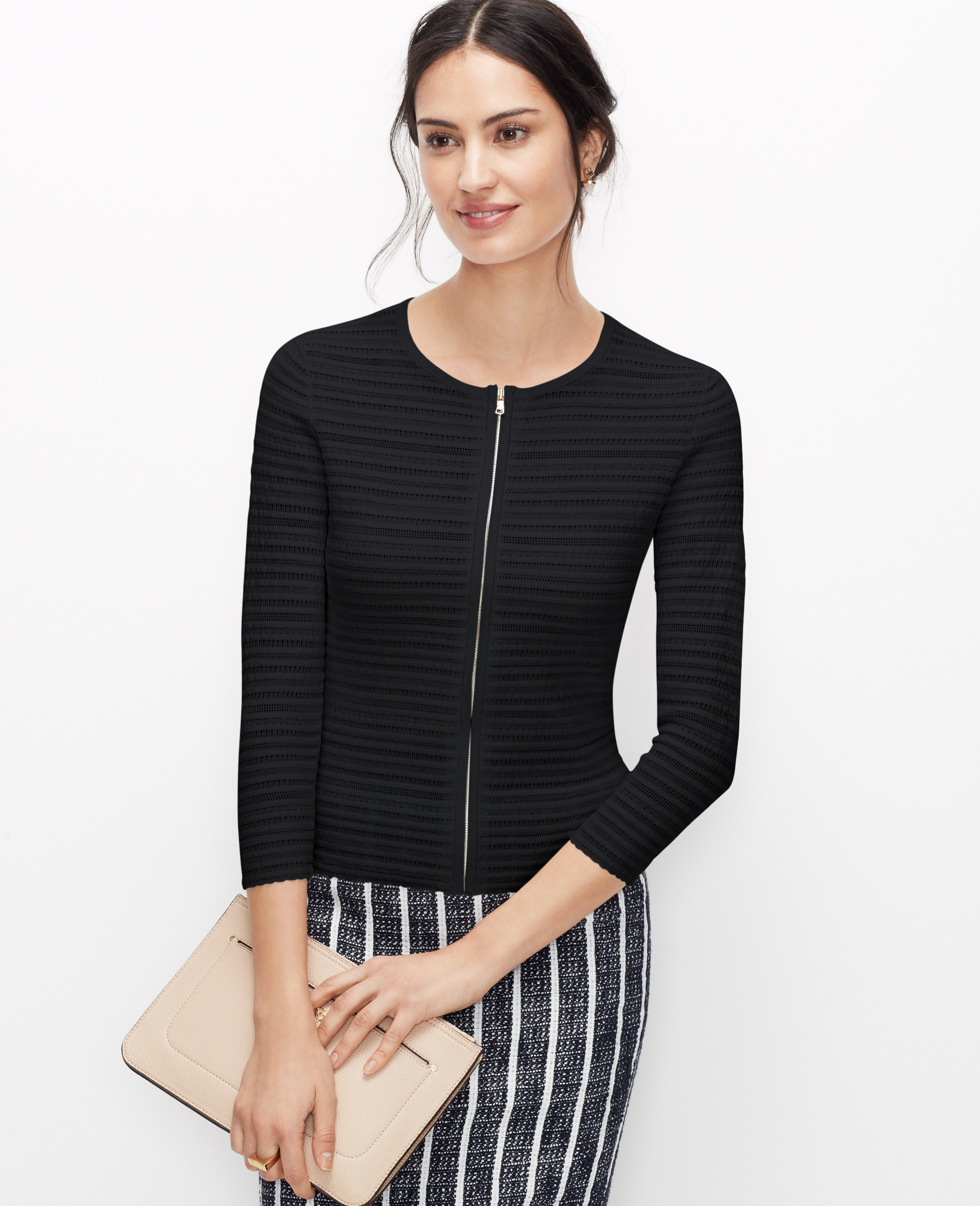 Ann taylor Petite Zip Front Sweater Jacket in Black | Lyst