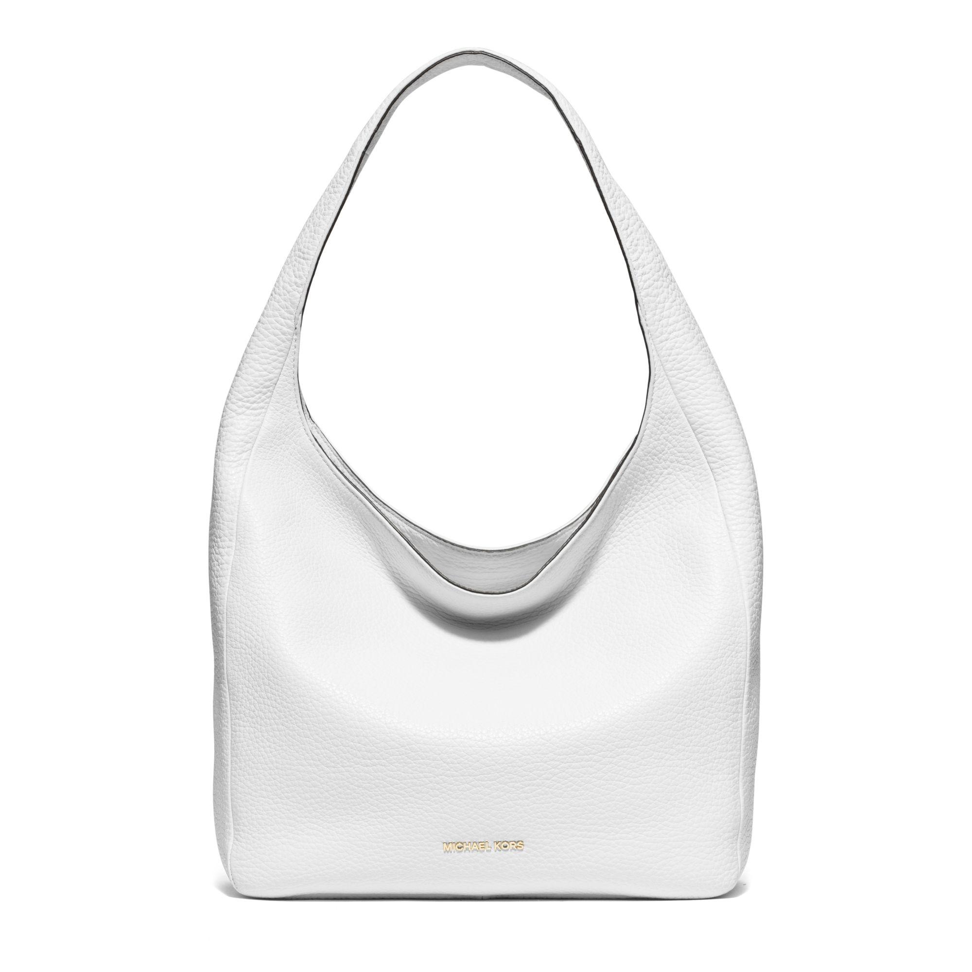 b69f73f61f08 Lyst - Michael Kors Lena Large Leather Shoulder Bag in White