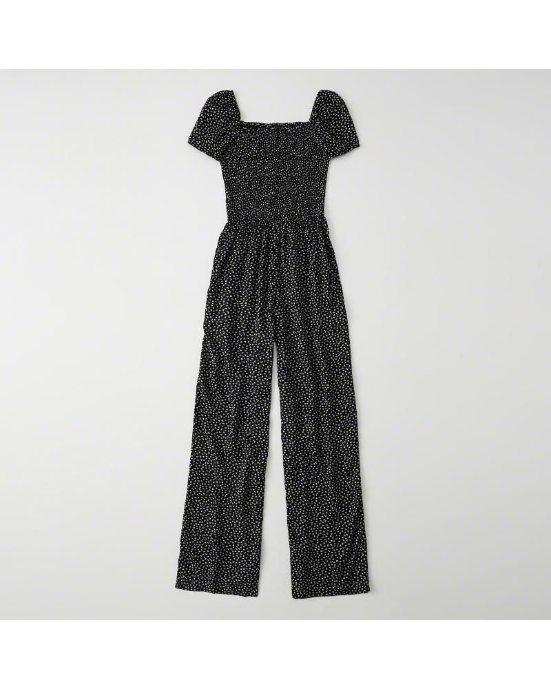 4a0557e7842a Lyst - Abercrombie   Fitch A f Smocked Jumpsuit in Black