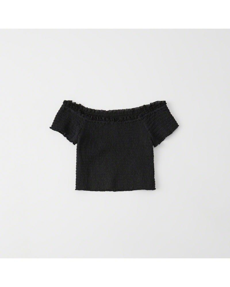 63c2e0eba4f76c Abercrombie   Fitch - Black A f Off-the-shoulder Smocked Top - Lyst. View  fullscreen
