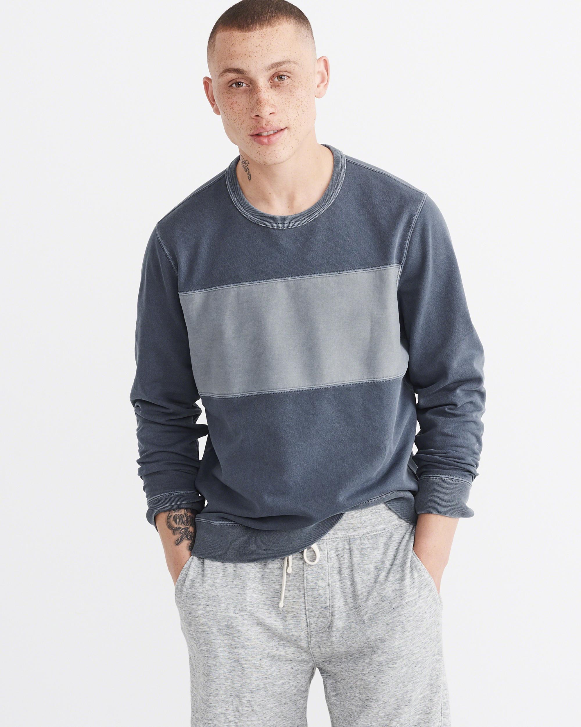 e77f6dd9604b Lyst - Abercrombie   Fitch Garment Dye Fleece Pullover in Blue for Men