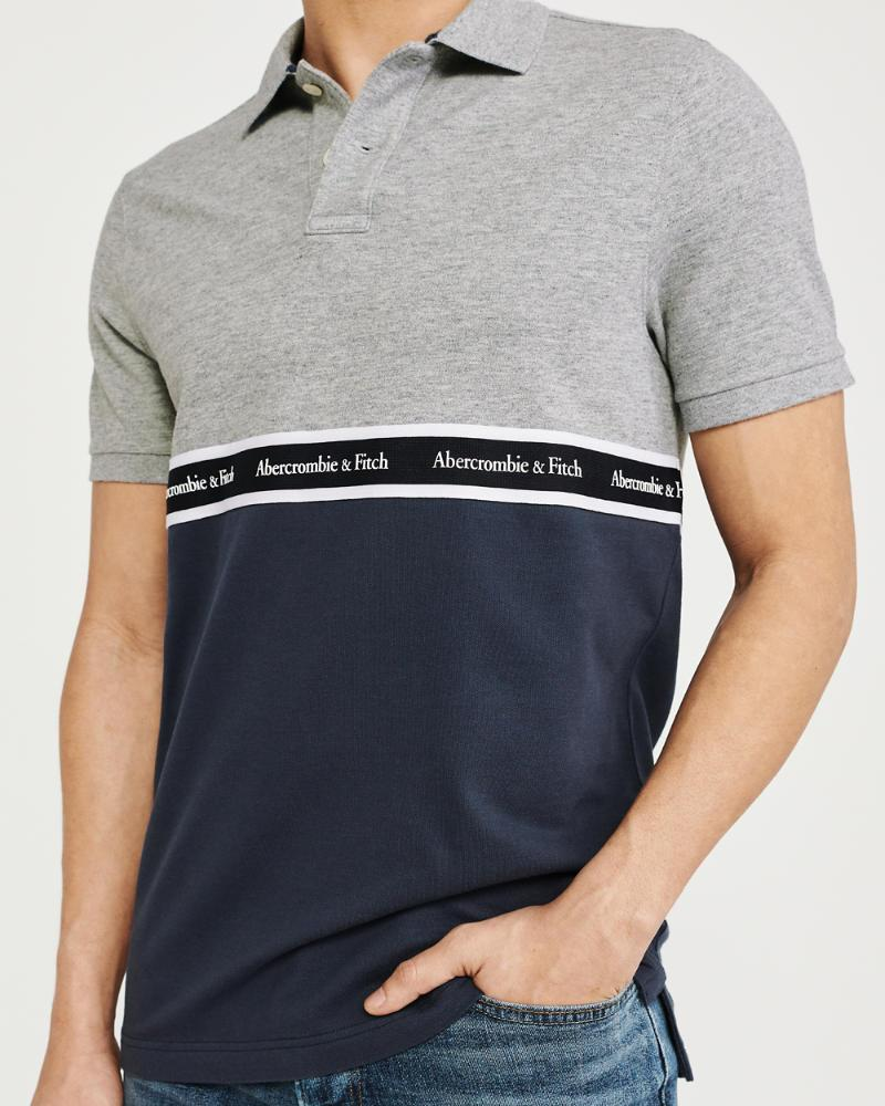 c49459f643 Lyst - Abercrombie   Fitch Logo Tape Stretch Polo in Gray for Men