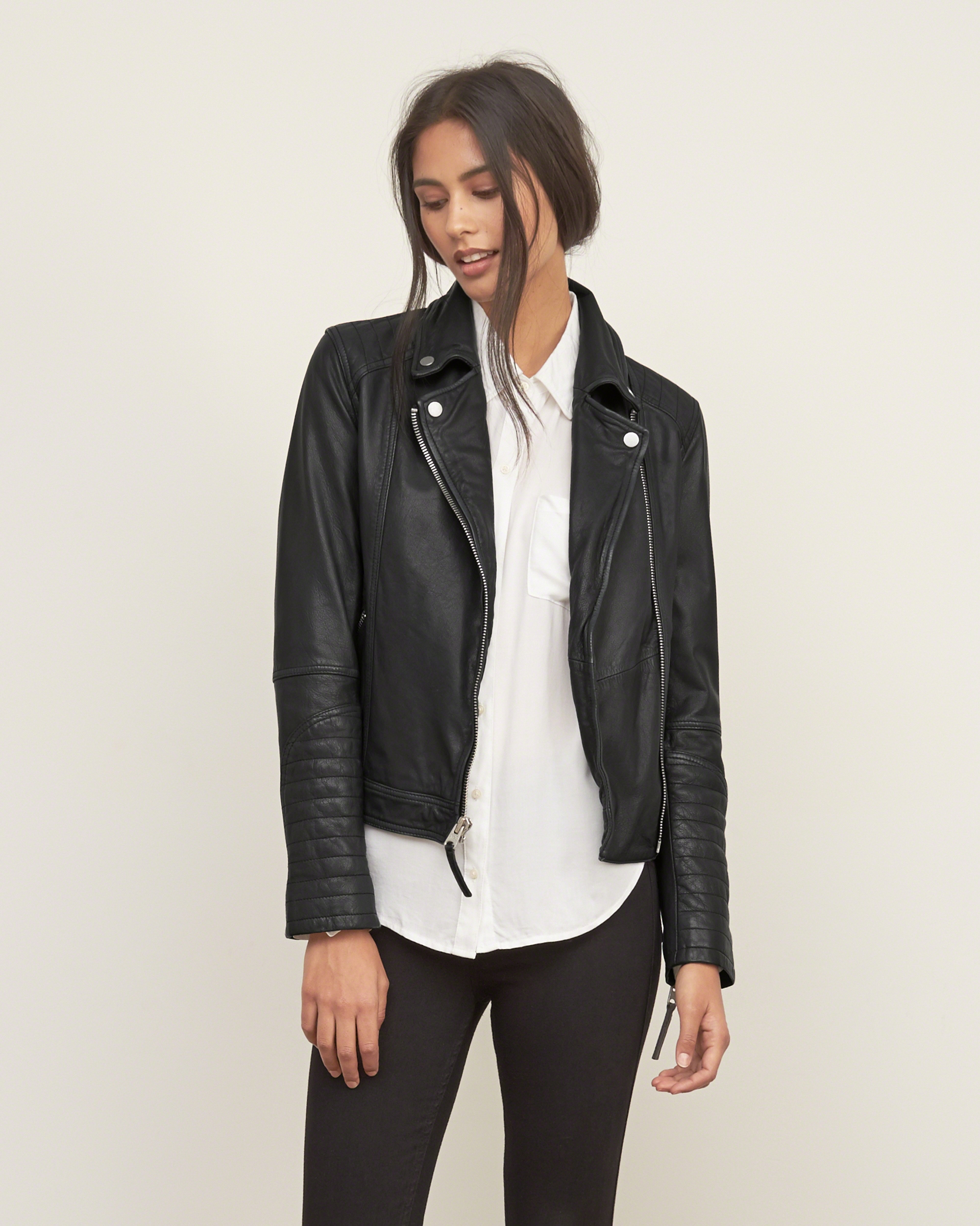 Abercrombie Fitch Accessories Abercrombie Fitch Womens: Abercrombie & Fitch Genuine Leather Biker Jacket In Black