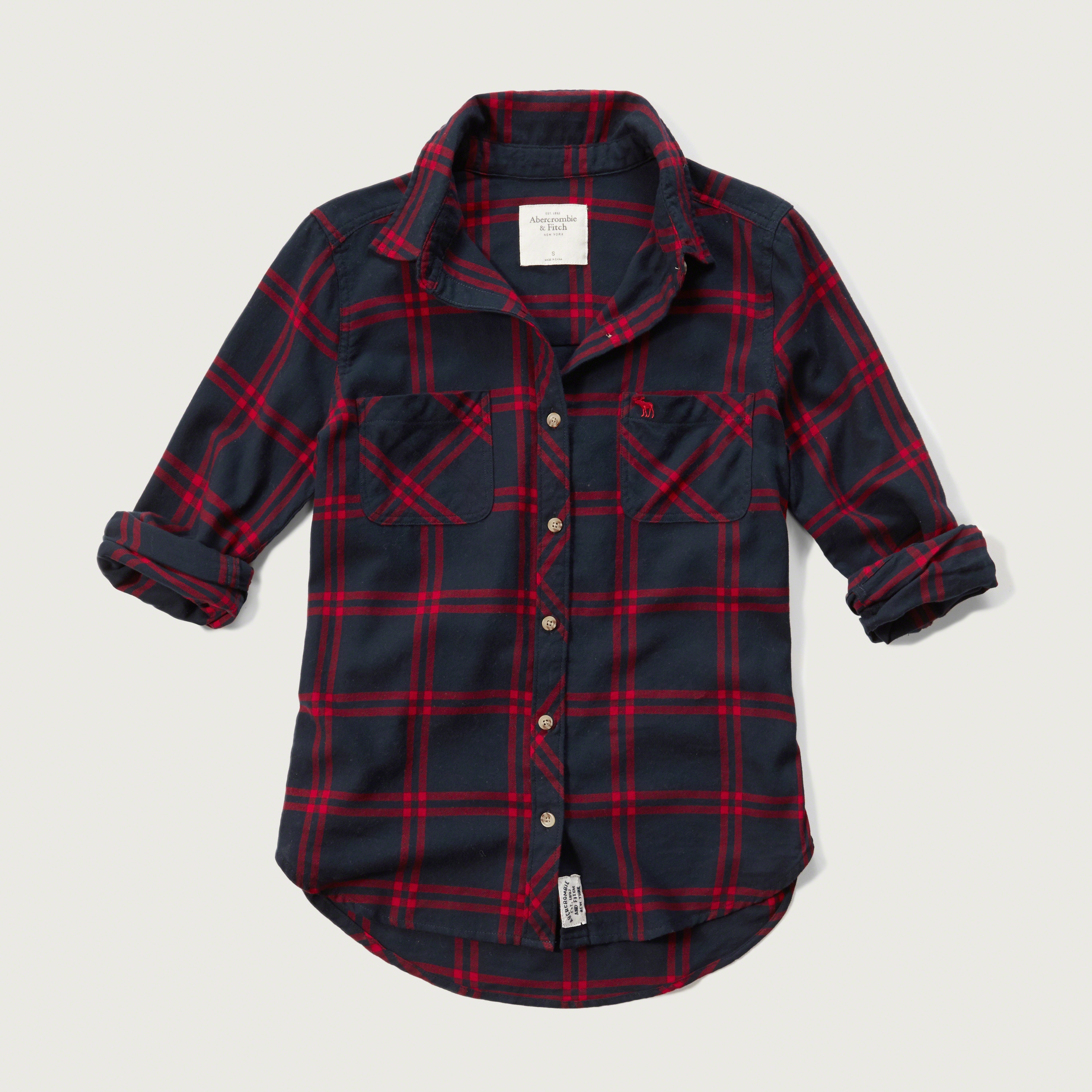 Lyst abercrombie fitch plaid flannel shirt in blue for Navy blue and red flannel shirt