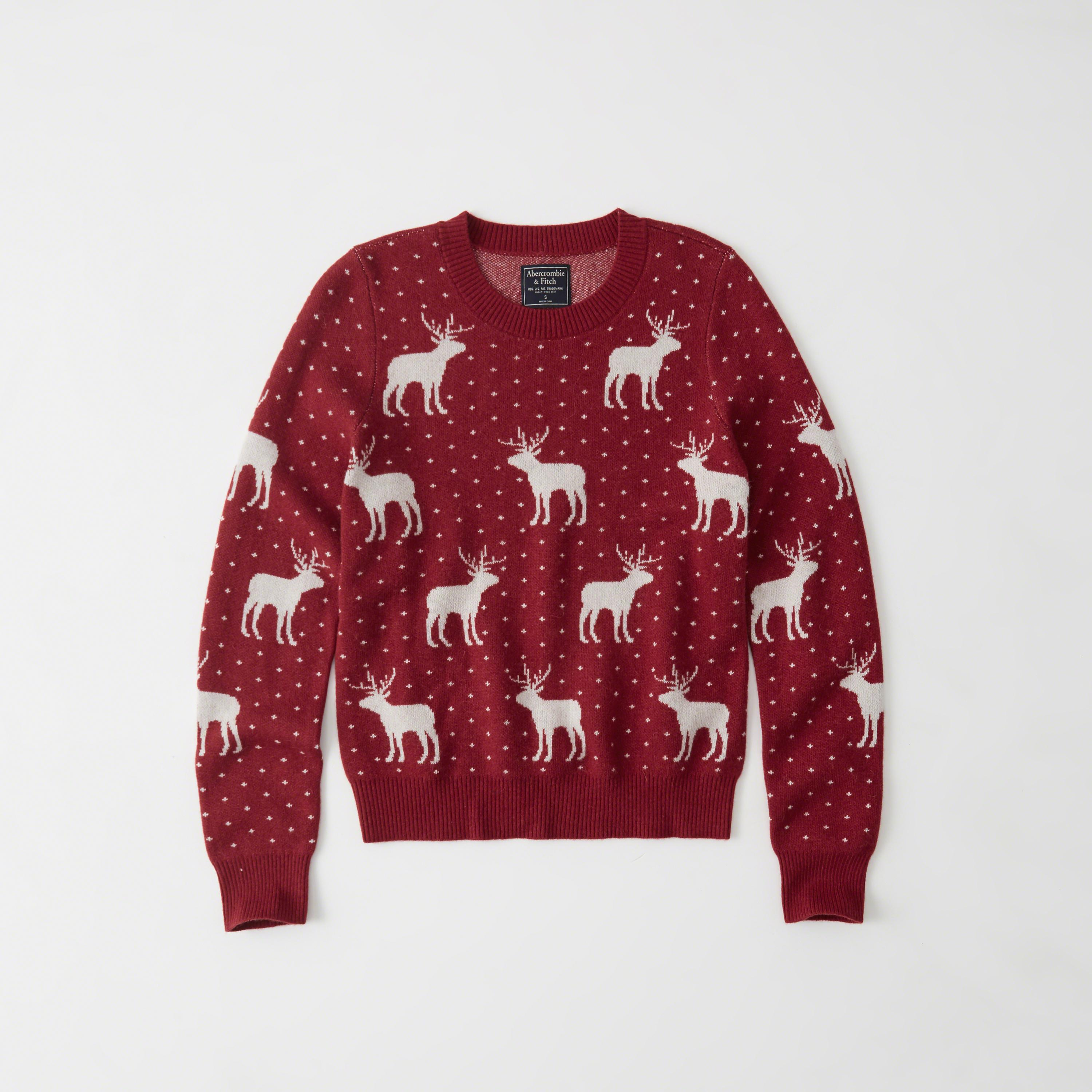 Abercrombie & Fitch Moose Pattern Crew Sweater