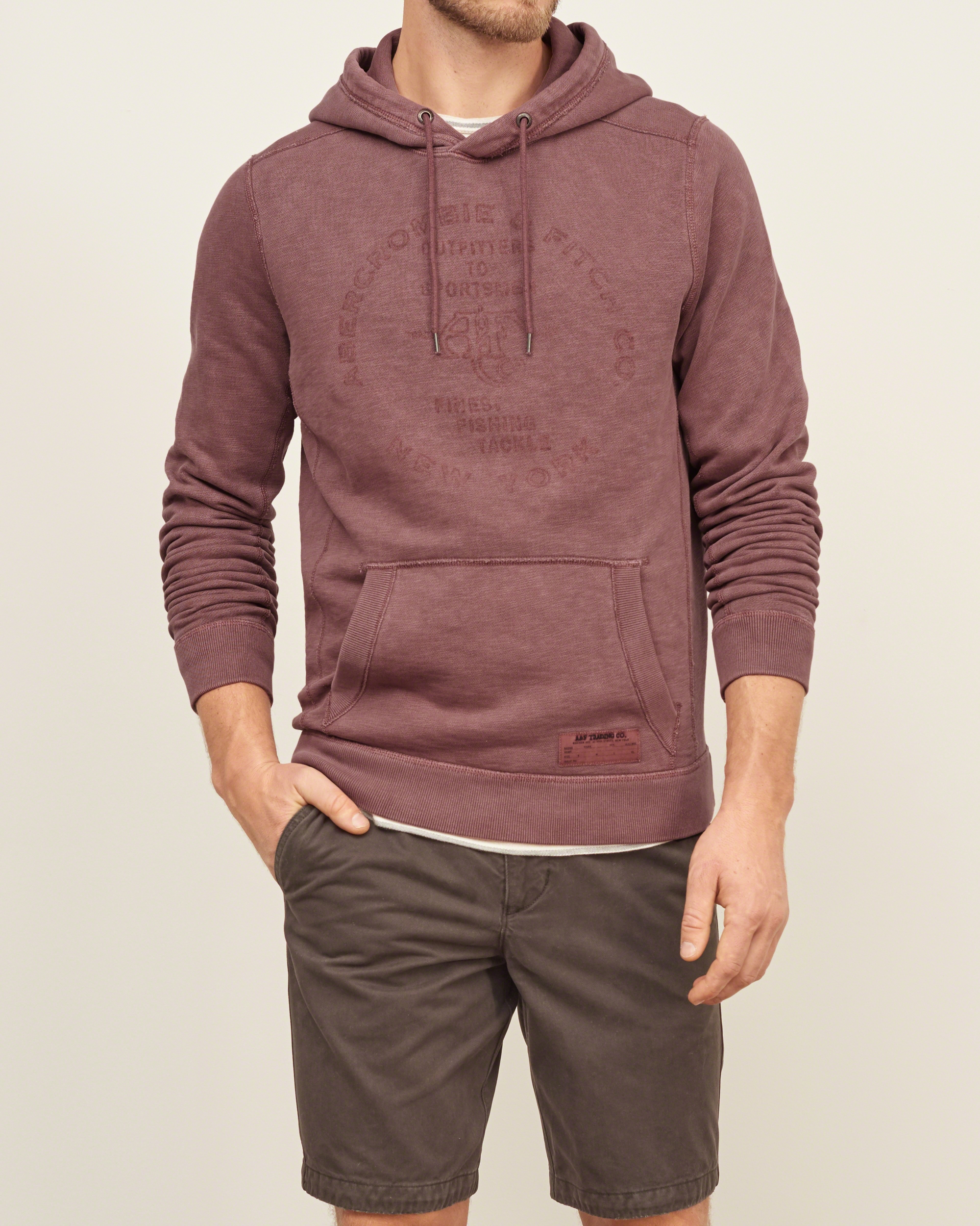 Abercrombie & Fitch Logo Graphic Hoodie In Purple