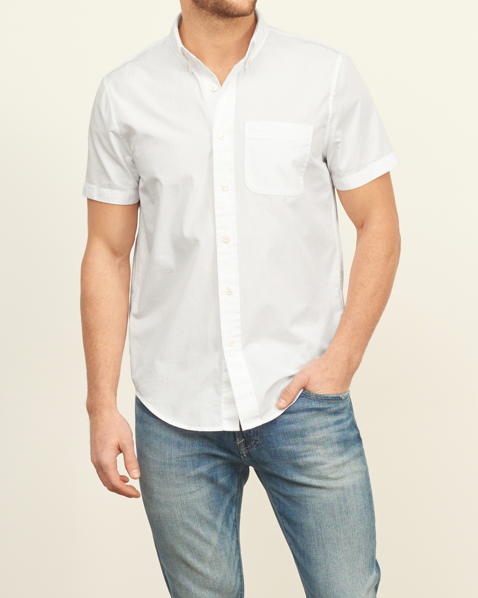 abercrombie amp fitch iconic poplin short sleeve shirt in