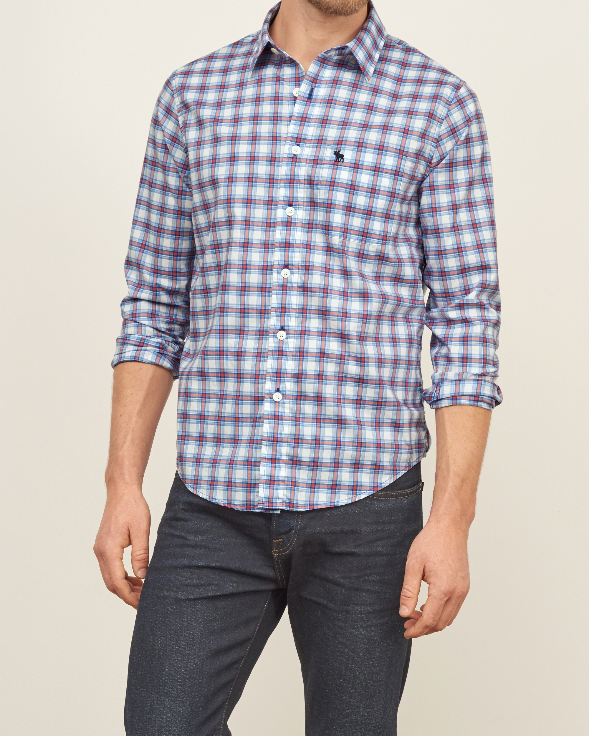 abercrombie amp fitch iconic plaid shirt in blue for men lyst