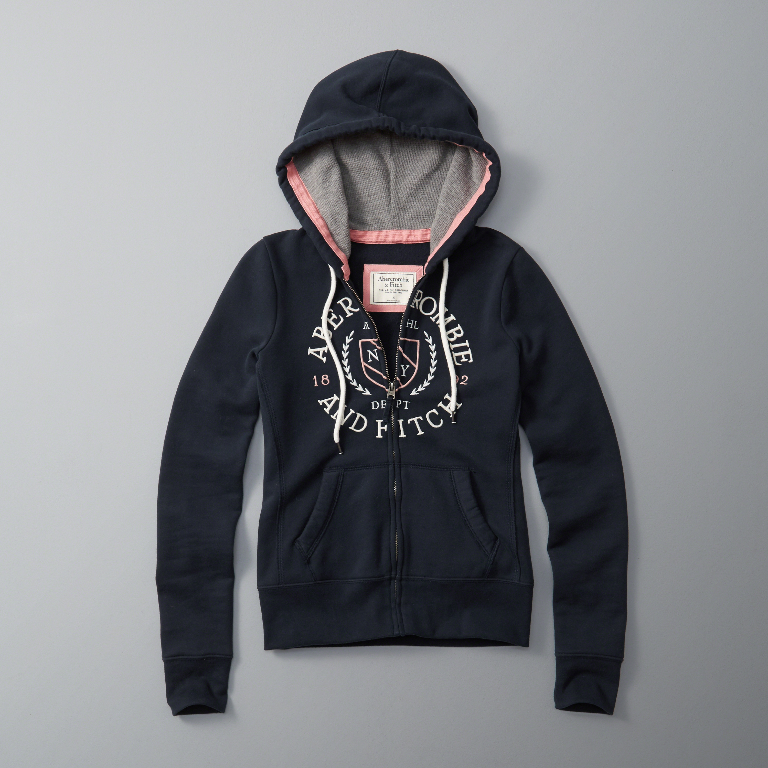 Abercrombie & Fitch Logo Full-zip Hoodie In Blue
