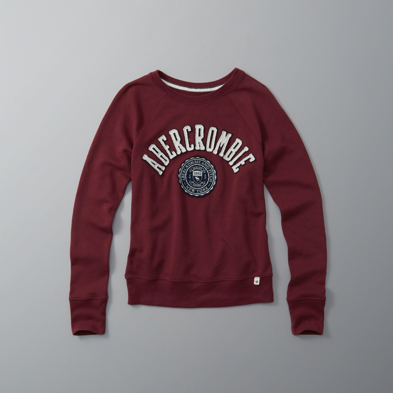 Abercrombie Fitch Logo Graphic Crew Sweatshirt Lyst