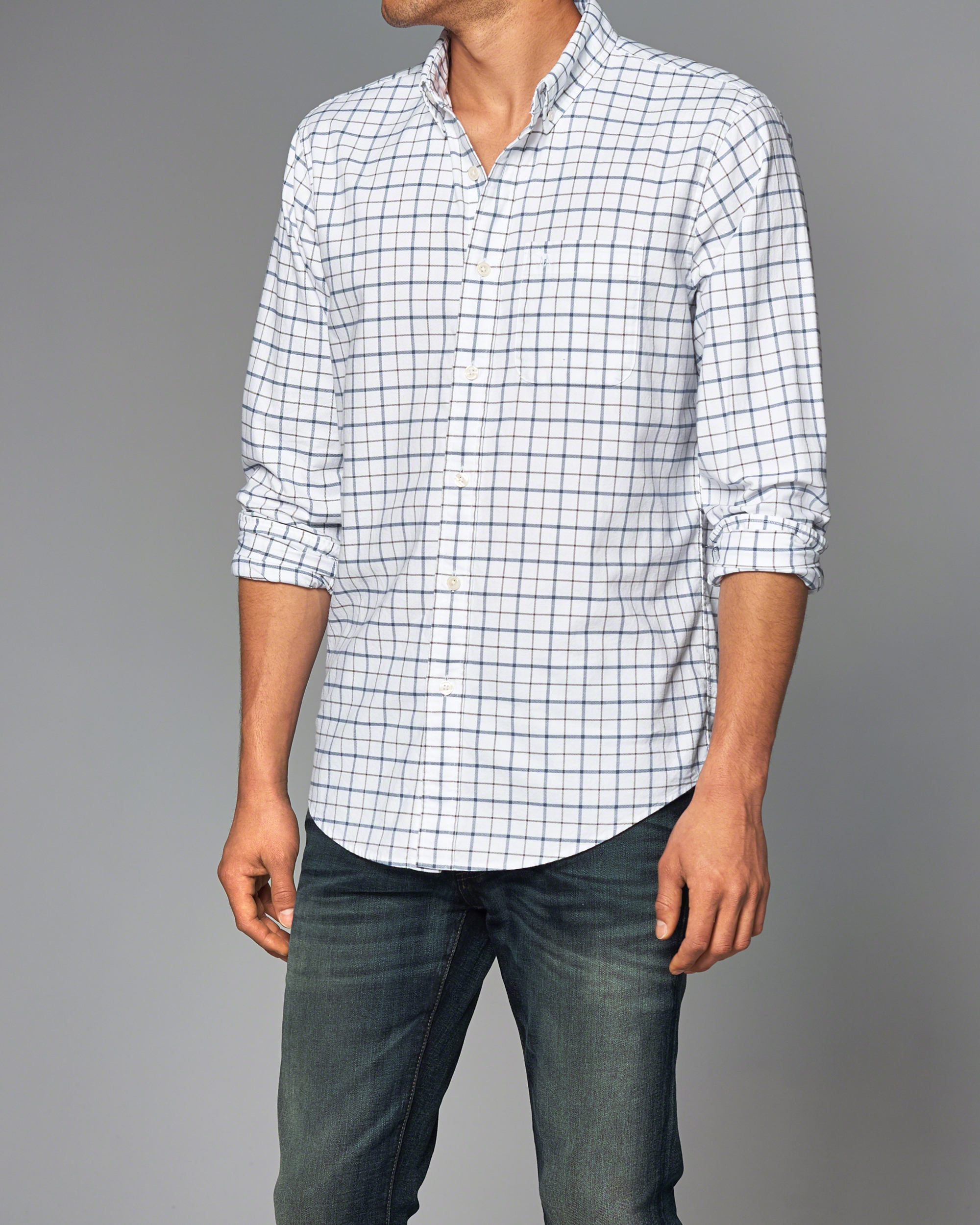 lyst abercrombie amp fitch plaid oxford shirt in white for men