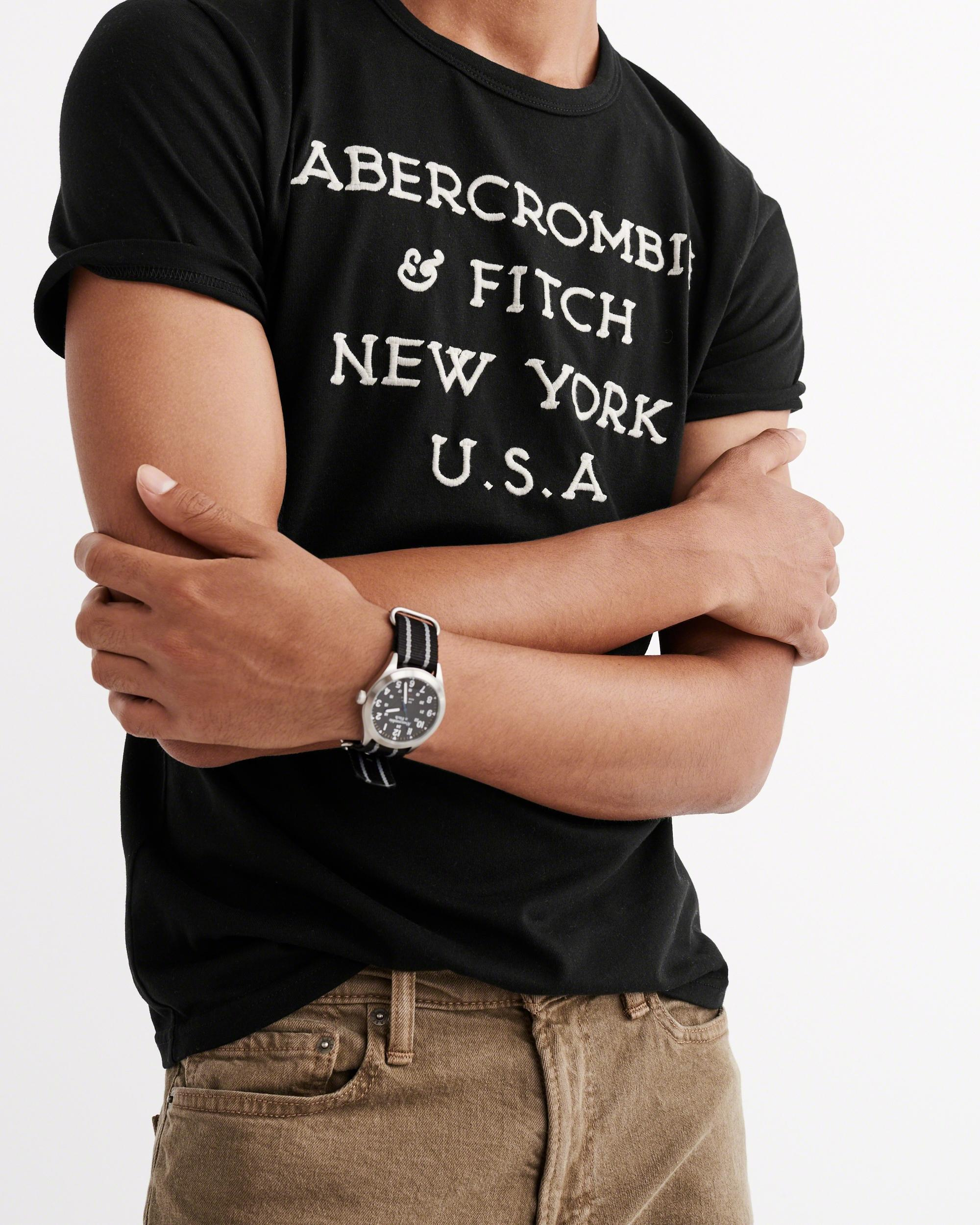 Lyst abercrombie fitch logo graphic tee in black for men for Abercrombie logo t shirt