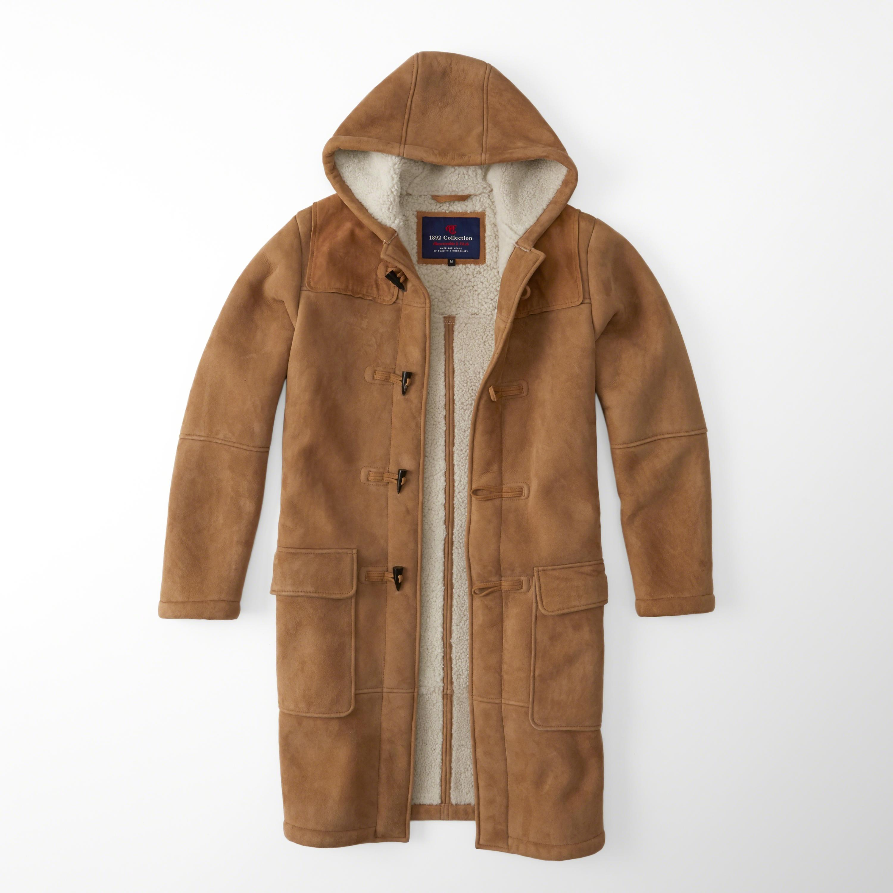Abercrombie & fitch Shearling Duffle Coat for Men | Lyst