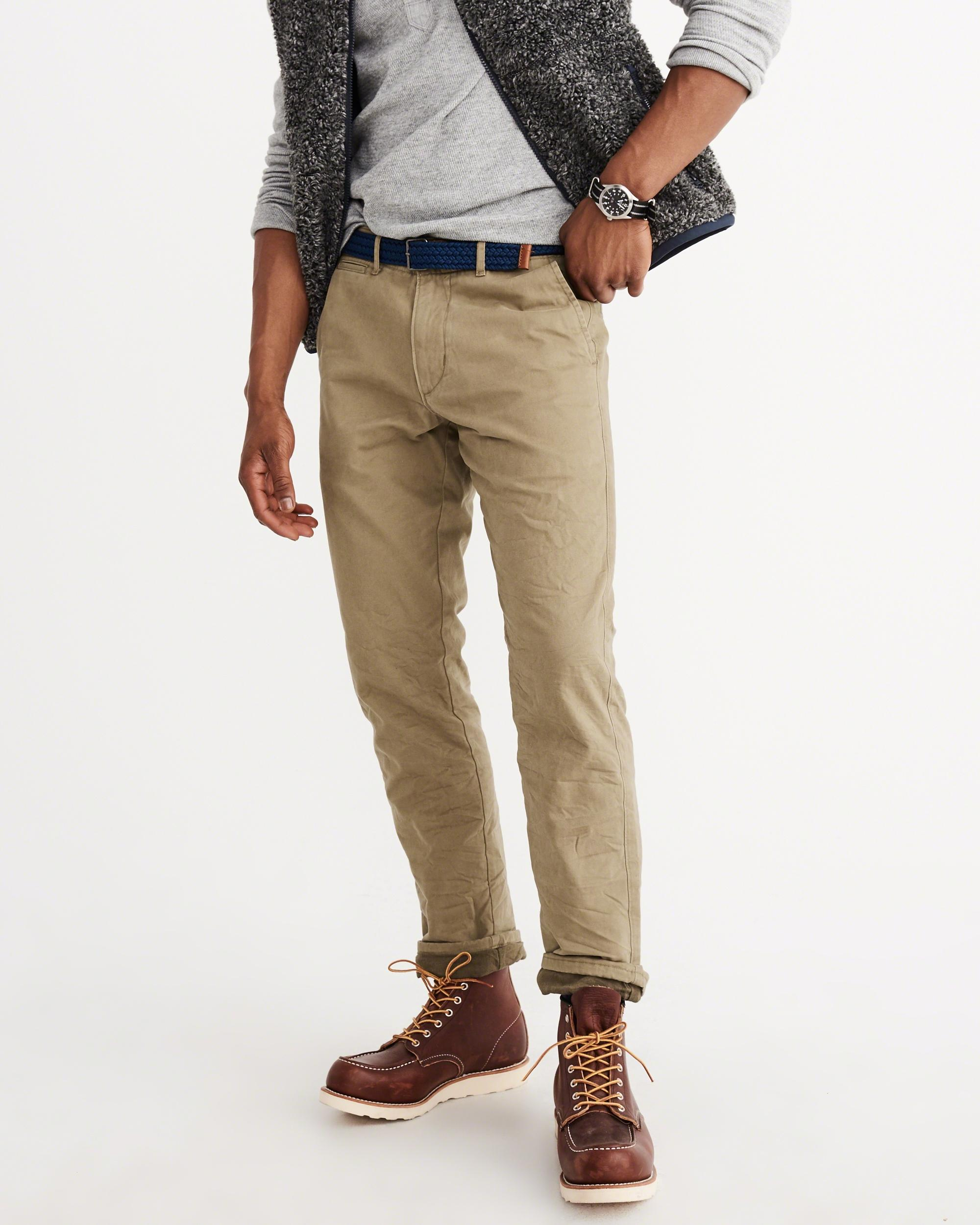 Abercrombie Amp Fitch Slim Straight Flannel Lined Chino