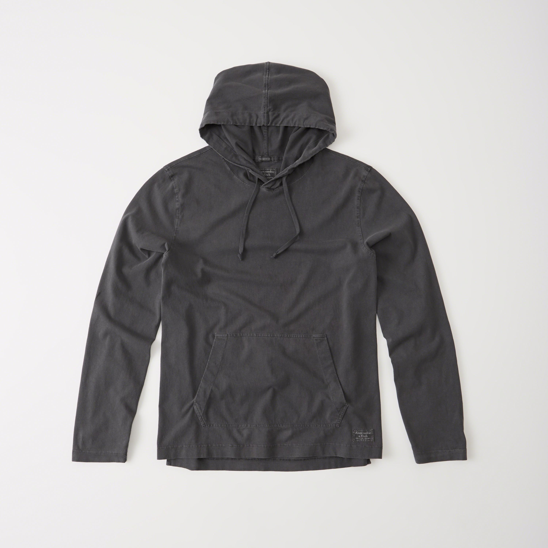 Abercrombie & Fitch Garment Dye Hoodie In Gray For Men