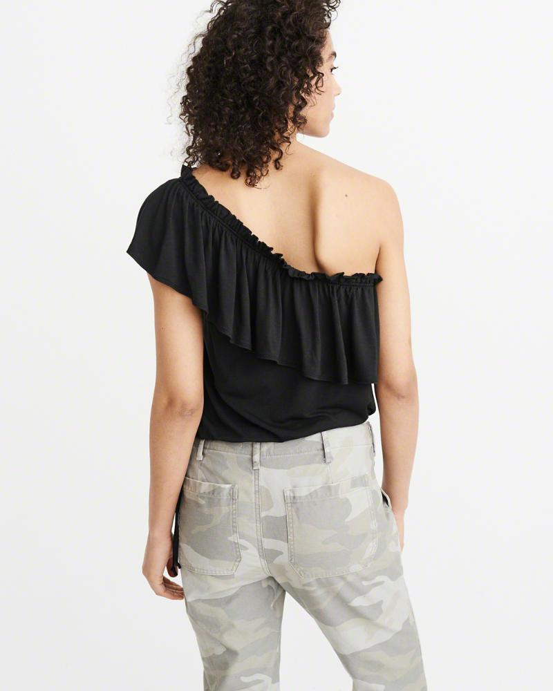 665b6dddd48777 Lyst - Abercrombie   Fitch A f One-shoulder Ruffle Top in Black