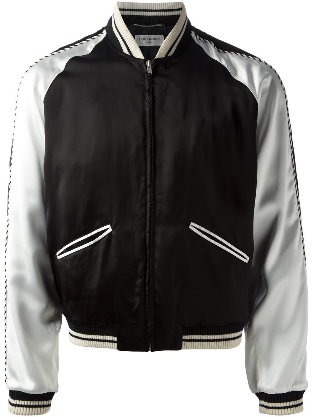 Saint laurent Monochrome Bomber Jacket in Black for Men | Lyst