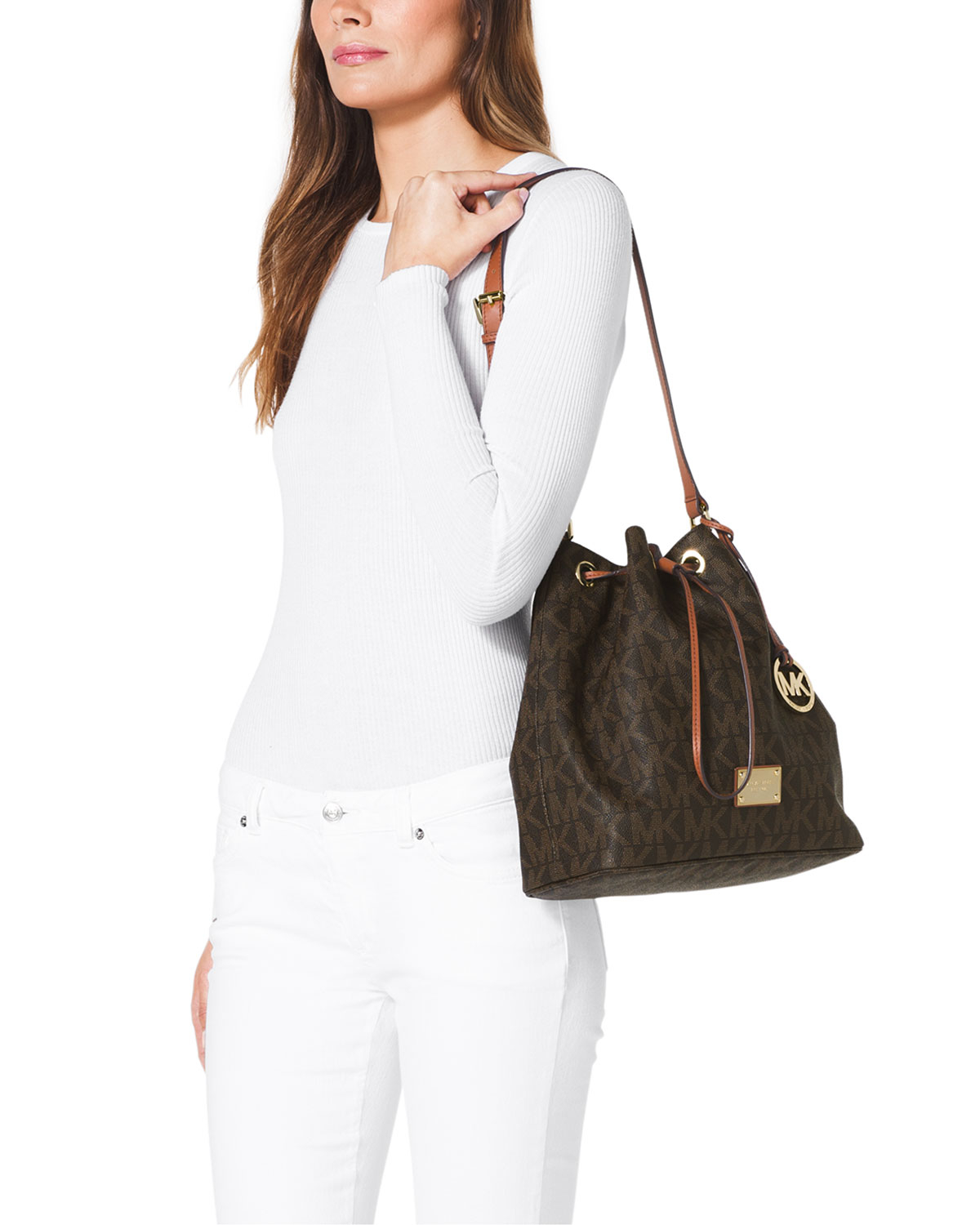 739198c2fc672 ... australia lyst michael michael kors large jules drawstring shoulder bag  in brown 80e00 cba10