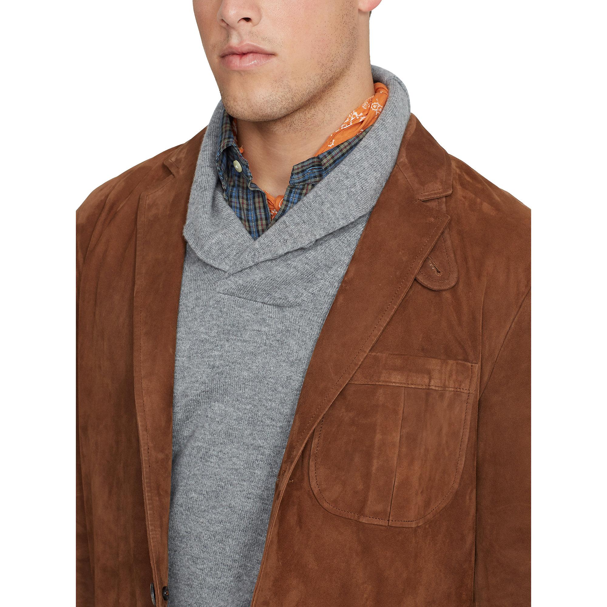 Ralph lauren Suede Sport Coat in Brown for Men | Lyst