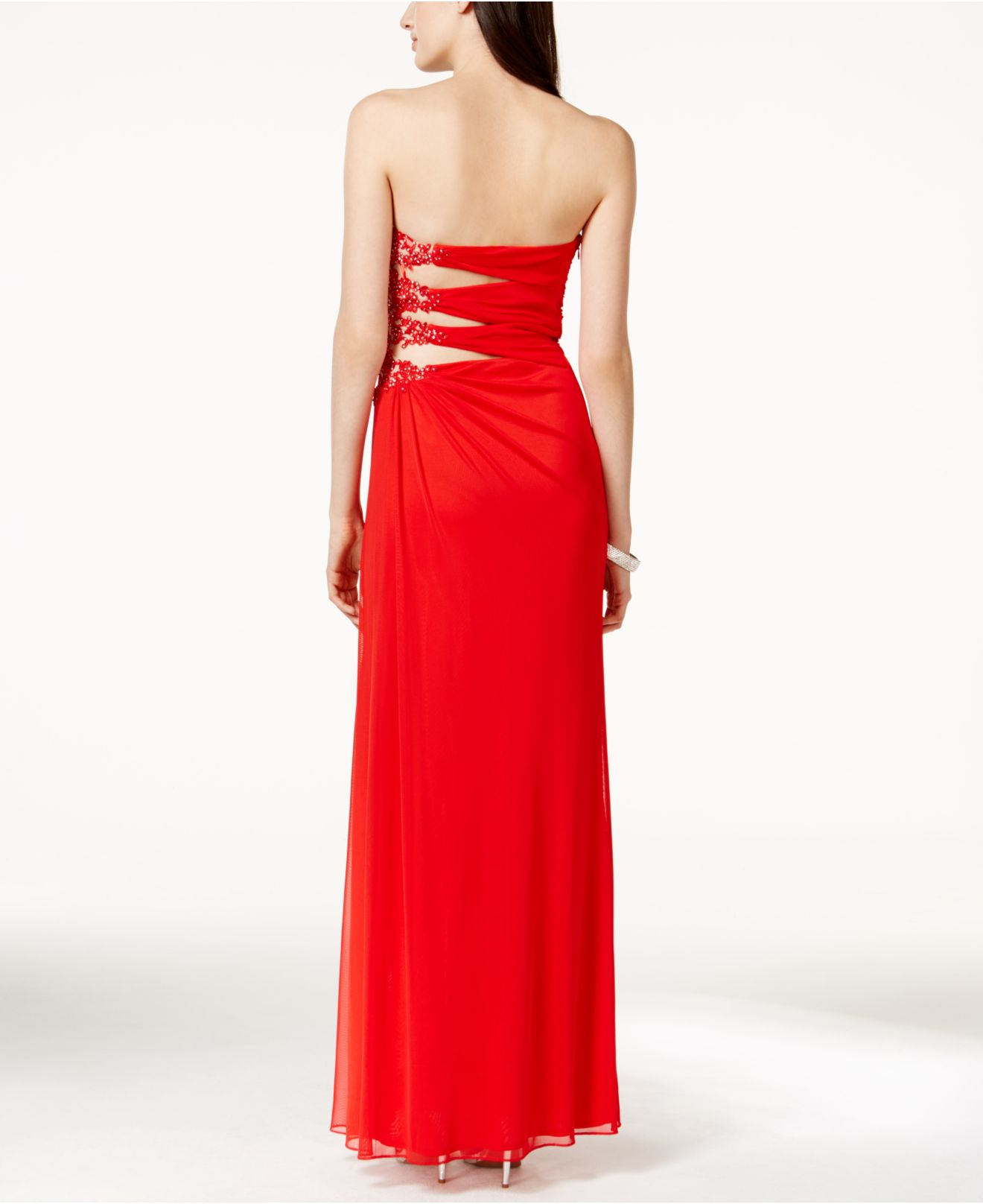Lyst - Xscape Illusion-side Strapless Evening Gown in Red