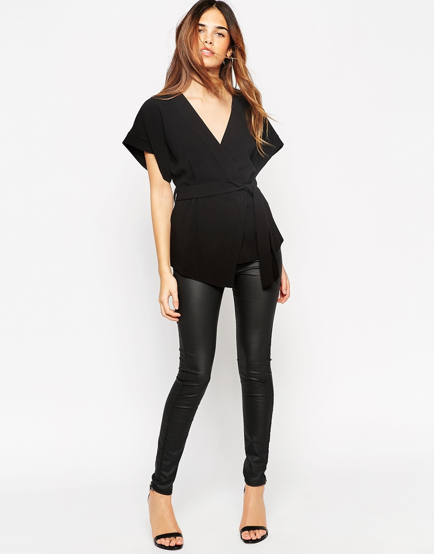 Asos Obi Band Wrap Blouse - Black in Black | Lyst