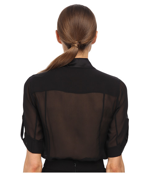 Lyst Balmain Sheer Button Up Blouse In Black