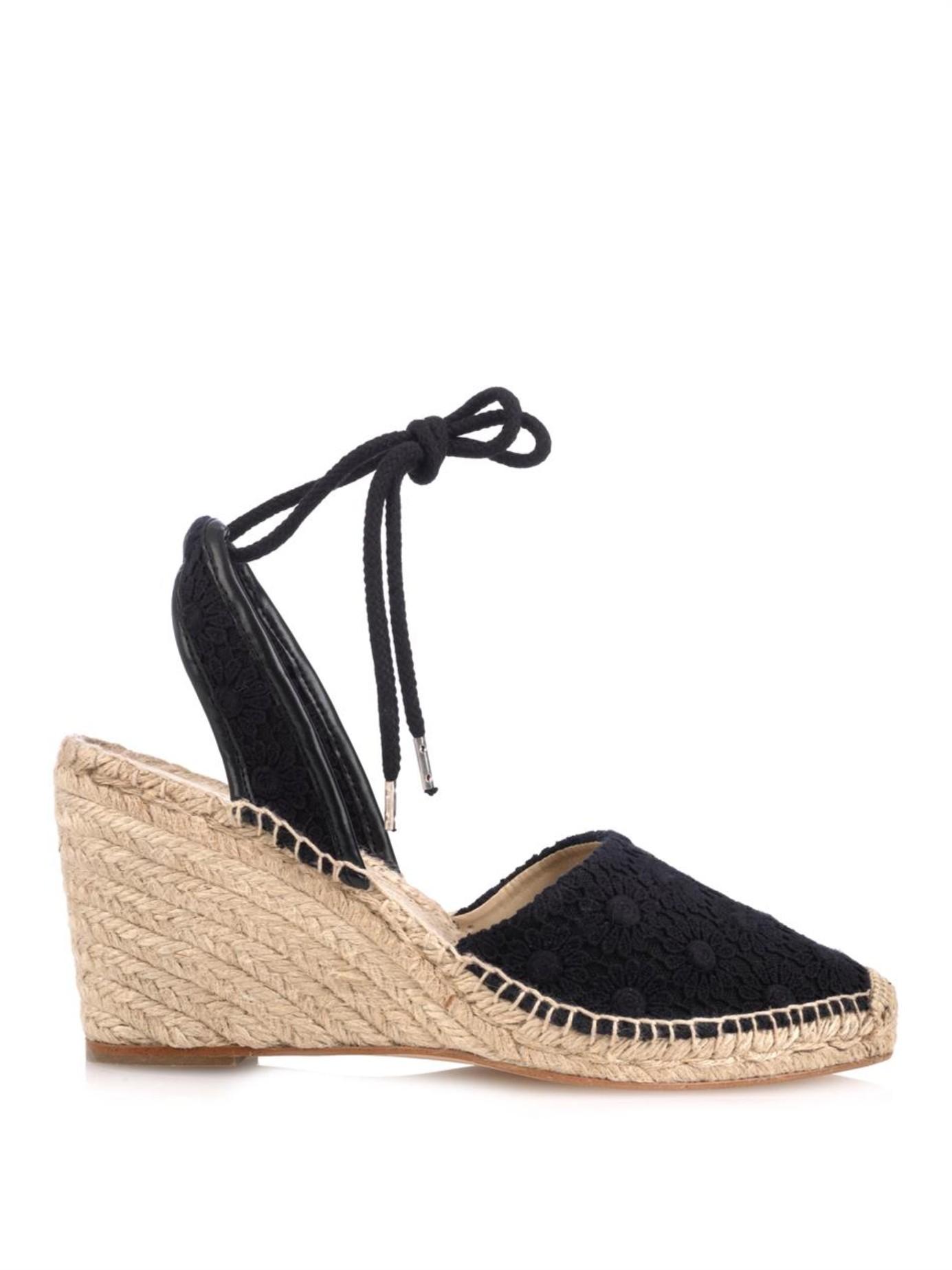 d281197db8a Lyst - Stella McCartney Emmeline Crochet-Knit Wedge Espadrilles in Black