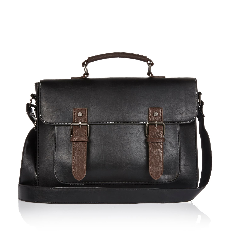 River island Black Classic Satchel Bag in Black for Men | Lyst