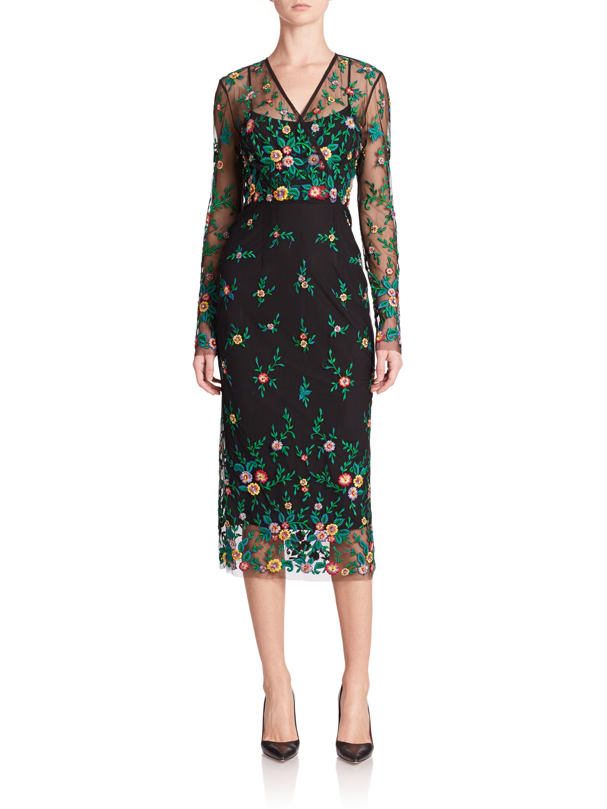 Suno black tulle embroidered dress in transparent lyst