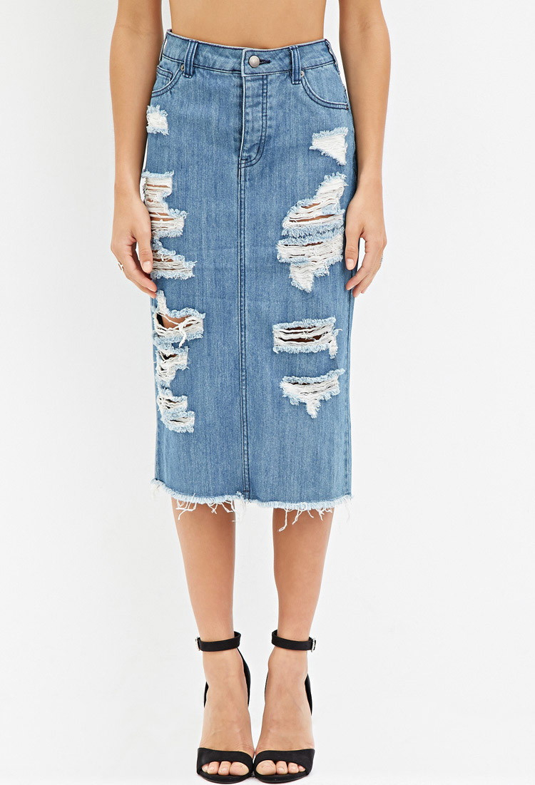 forever 21 distressed denim pencil skirt in blue lyst