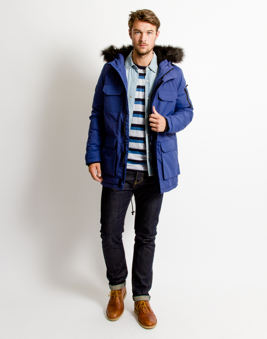 Bellfield Nimrod Fishtail Parka in Blue for Men | Lyst