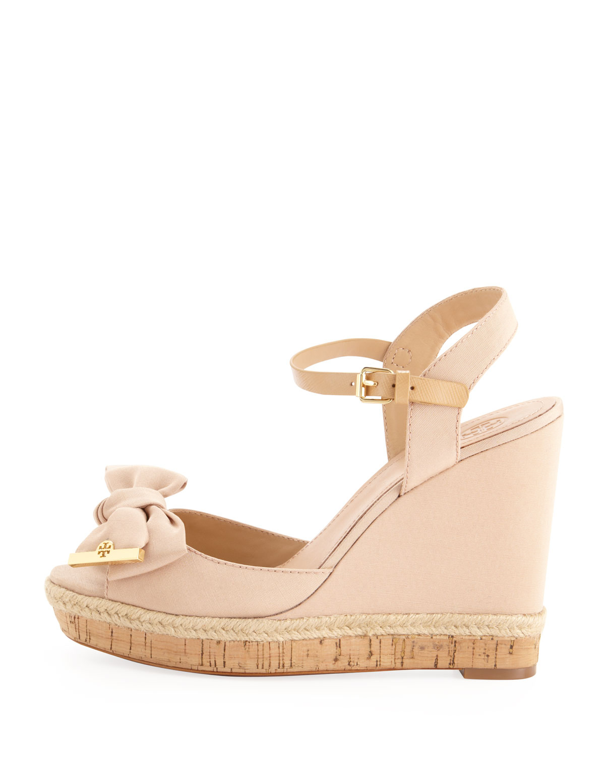 Tory Burch Penny Faille Bow Wedge In Pink Camellia Pink