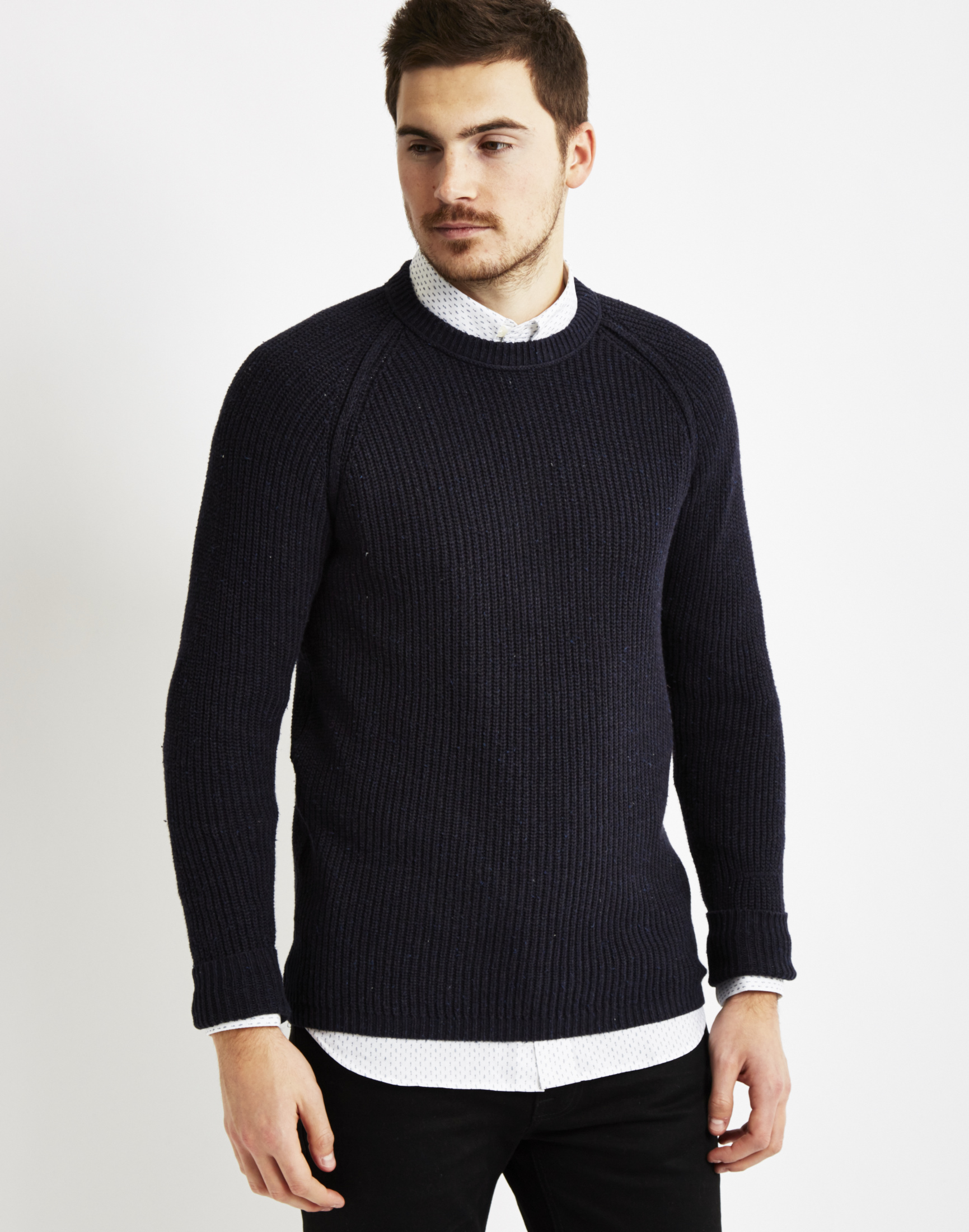 a53f16c21676 Lyst - Only   Sons Mens Knitted Crew Neck Sweatshirt Navy in Blue ...