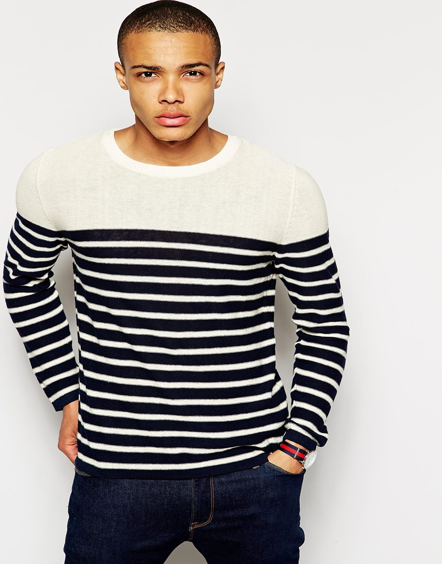 Selected Sweater With Breton Stripe In Black For Men Lyst