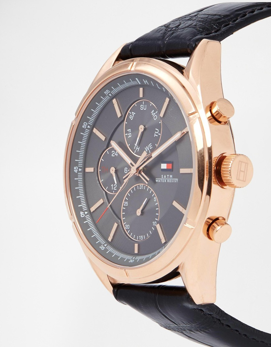 Watch Videos Music And Live Streams On The App: Tommy Hilfiger Charlie Watch Leather Strap Watch