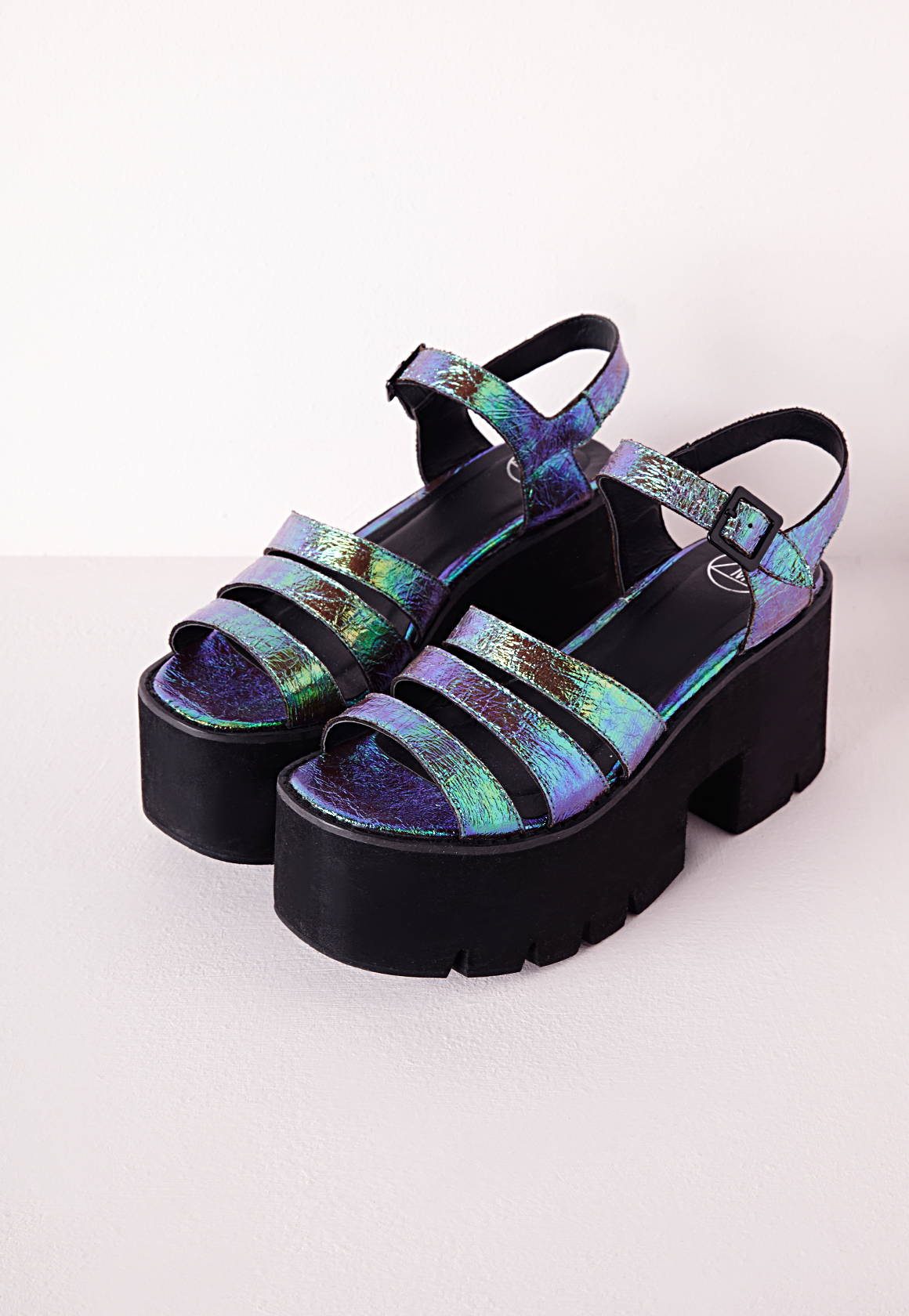 6ed3afa590b Lyst - Missguided Cleated Chunky Flatform Sandals Iridescent Teal in ...