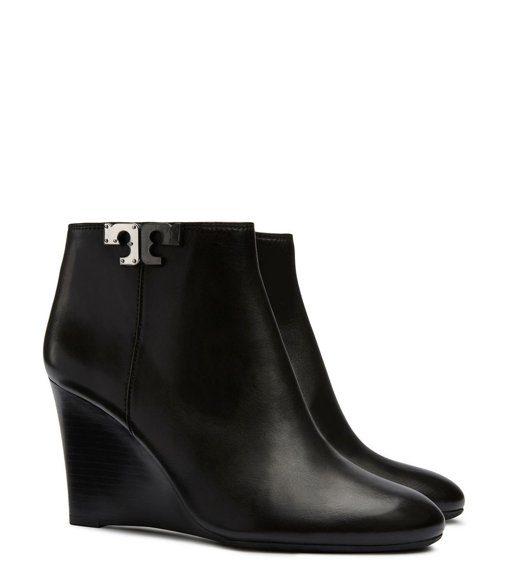 4fca3b0f4de Lyst - Tory Burch Lowell Leather Wedge Booties in Black