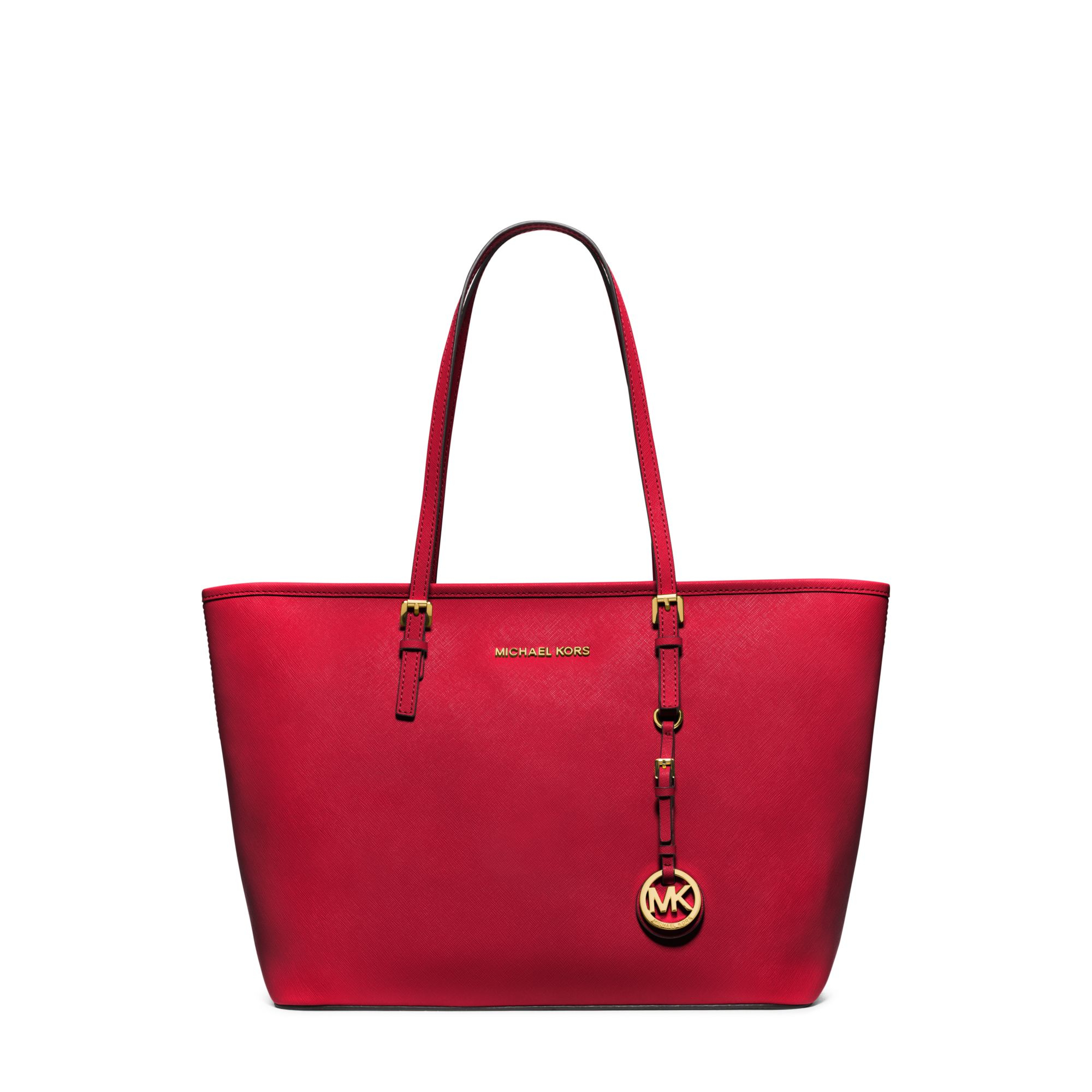 Michael Kors Jet Set Travel Saffiano Leather Top-zip Tote in Red - Lyst 35f3416d6c672