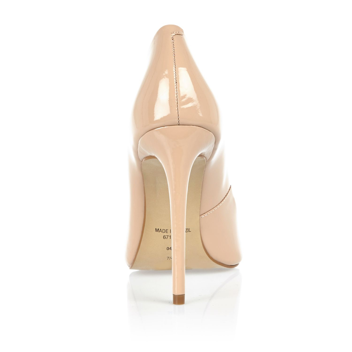 River Island Womens Nude pink patent pumps T0CY2