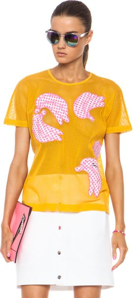 Carven Banana Tee with Netting in Yellow (Banana) - Lyst