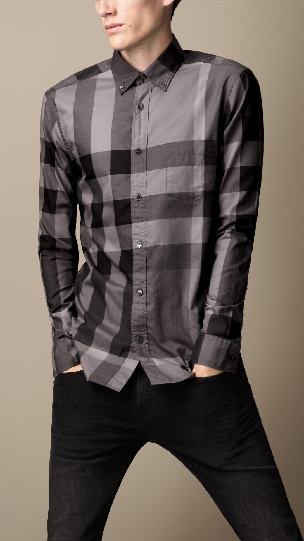 Burberry giant exploded check cotton shirt in black for for Where are burberry shirts made