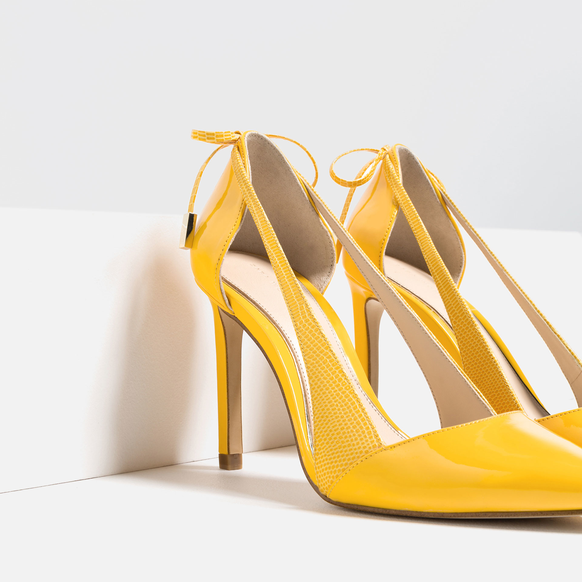 zara high heel shoes with bow in yellow lyst