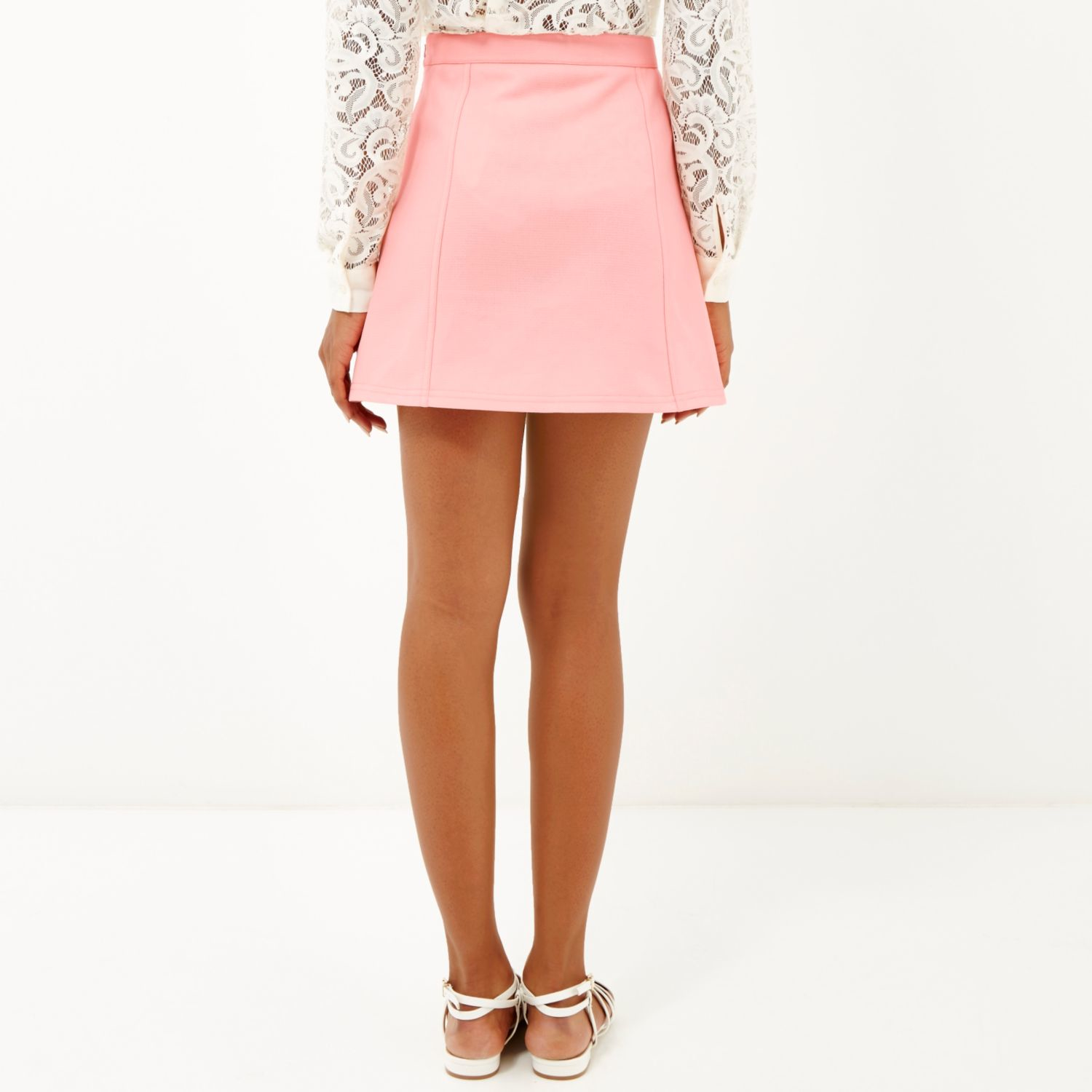 River island Light Pink Button-up A-line Mini Skirt in Pink | Lyst