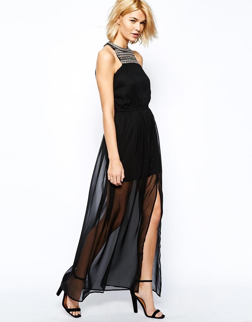 Mango Embellished Neck Maxi Dress in Black - Lyst