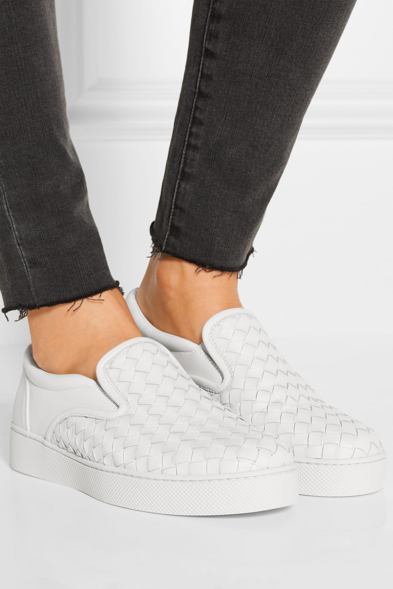 7229989f651d Bottega Veneta Intrecciato Leather Slip-on Sneakers in White - Lyst