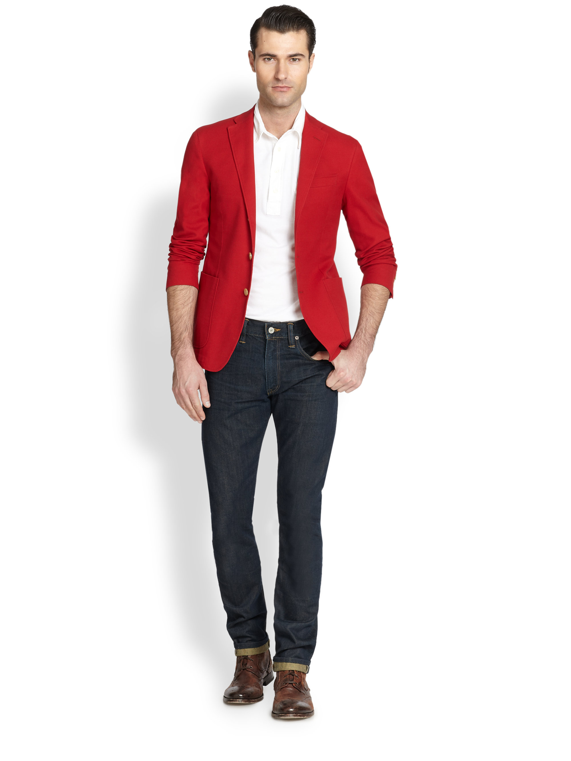 lyst polo ralph lauren yale sport coat in red for men